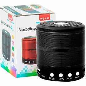 WS-887 Mini Bluetooth Speaker with FM Radio, Memory Card Slot, USB Pen Drive Slot, AUX Input Mode (Black)