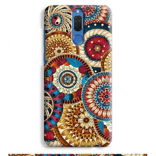 PrintVisa Multicolor Ethnic Design Colourful Patterns Round Circular Designer Printed Hard Back Case For Honor 9i - Multicolor