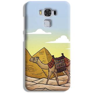 PrintVisa Camel Art Symbol Desert Registan Designer Printed Hard Back Case For Asus Zenfone 3 Max ZC 553KL - Multicolor
