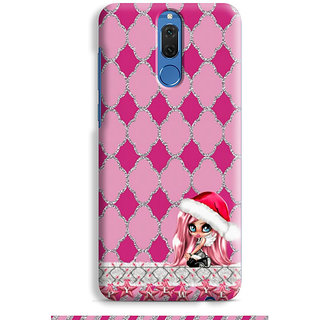 PrintVisa Star Lines Pink Grey Pattern Ladki Designer Printed Hard Back Case For Honor 9i - Multicolor