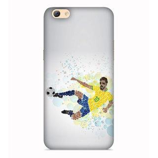 PrintVisa White Yellow Tshirt Football Symbol Designer Printed Hard Back Case For Oppo F3 - Multicolor