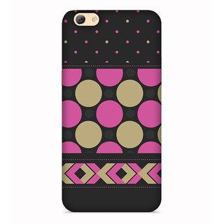 PrintVisa Pink Cream Multipattern Black Designer Printed Hard Back Case For Oppo F3 - Multicolor