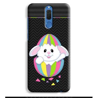 PrintVisa Rabbits Multicolor Multicolour Stripes Khargosh Mobile Cover Designer Printed Hard Back Case For Honor 9i - Multicolor