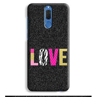 PrintVisa Love Pyar Romantic Zebra Patterns Quotes Theme Mobile Cover Designer Printed Hard Back Case For Honor 9i - Multicolor