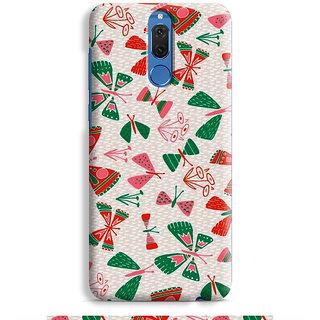 PrintVisa Natural Nature Butterfly Beautiful Leaves Designer Printed Hard Back Case For Honor 9i - Multicolor