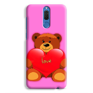 PrintVisa Cute Teddy Bear With Heart Designer Printed Hard Back Case Cover For Honor 9i - Multicolor