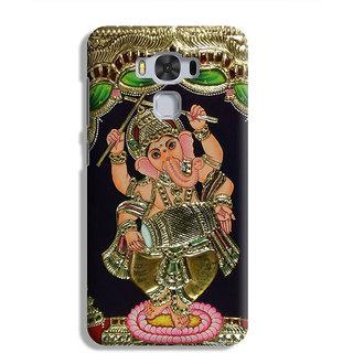PrintVisa Gold Ganapati Ganesh Ganesha Designer Printed Hard Back Case For Asus Zenfone 3 Max ZC 553KL - Multicolor