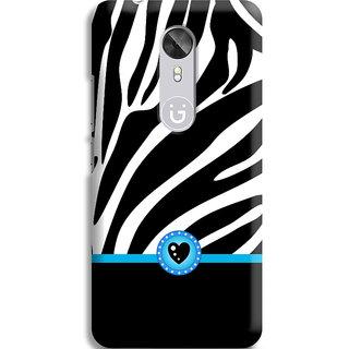 PrintVisa Black Designs Patterns Cool Zebra Safed Designer Printed Hard Back Case For Gionee A1 - Multicolor
