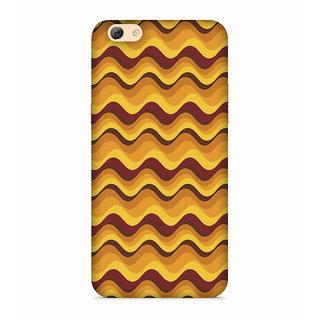PrintVisa Yellow Brown Flow Pattern Designer Printed Hard Back Case For Oppo F3 - Multicolor