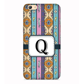 PrintVisa Floral Pattern Design Alphabet Q Designer Printed Hard Back Case For Oppo F3 - Multicolor