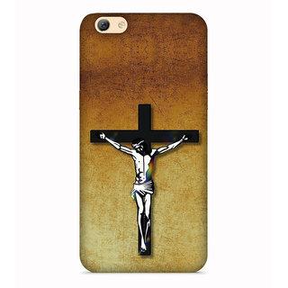 PrintVisa Jesus Christ Cross Designer Printed Hard Back Case For Oppo F3 - Multicolor