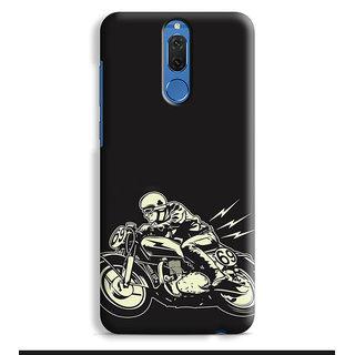 PrintVisa Cafe Racer On Fast Bike Designer Printed Hard Back Case Cover For Honor 9i - Multicolor