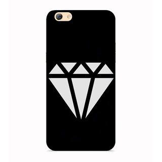 PrintVisa Diamond Triangles Black White Kaala Safed Mobile Cover Designer Printed Hard Back Case For Oppo F3 Plus - Multicolor