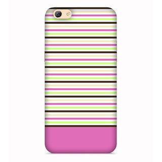 PrintVisa Lines Patterns Design Colorful Pink Designer Printed Hard Back Case For Oppo A71 - Multicolor