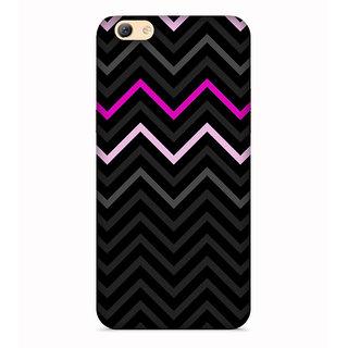 PrintVisa Black Grey White Pink Zigzag Pattern Designer Printed Hard Back Case For Oppo A83 - Multicolor