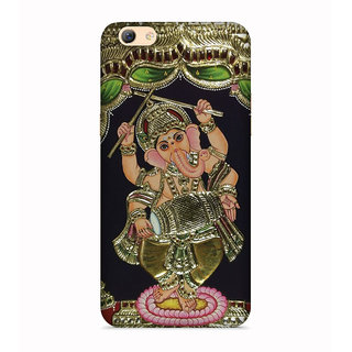 PrintVisa Gold Ganapati Ganesh Ganesha Designer Printed Hard Back Case For Vivo V5 - Multicolor