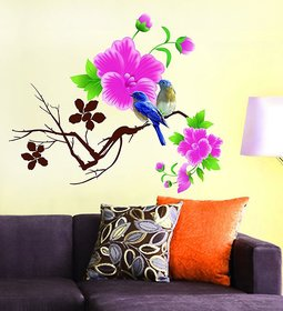 Living Room Wall Sticker Design Blue Birds With Pink Flowers (65x70 Cm)