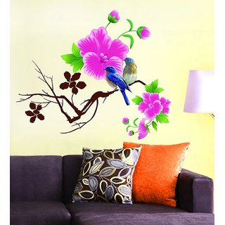 Eja Multicolor Other Floral Living Room Wall Sticker Design Blue Birds With Pink Flowers (65x70 Cm) (No of Pieces 1)