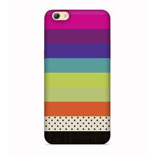 PrintVisa Pink Violet Green Orange White Band Designer Printed Hard Back Case For Vivo Y53 - Multicolor