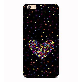 PrintVisa Heart Dil Black Romance Love Pyar Romantic Stripes Designer Printed Hard Back Case For Vivo Y55L - Multicolor