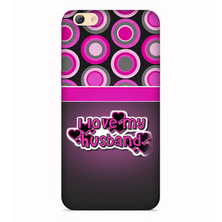 PrintVisa Husbabnd Love Quote Pink Grey Circles Designer Printed Hard Back Case For Redmi Y1 Lite - Multicolor