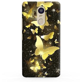 PrintVisa Flying Golden Butterflies Designer Printed Hard Back Case Cover For Redmi Note 5 - Multicolor