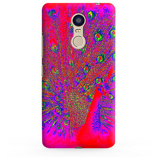 PrintVisa Animated Peacock Cartoon Feathers Colourful Colorful Mobile Cover Designer Printed Hard Back Case For Redmi Note 4 - Multicolor