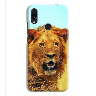 PrintVisa Lion Face Orange Yellow wild Designer Printed Hard Back Case For Redmi Note 7 - Multicolor