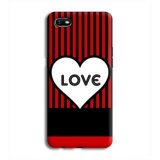 PrintVisa Heart Dil Black Romance Love Pyar Romantic Stripes Designer Printed Hard Back Case For Oppo A1K - Multicolor