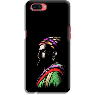 PrintVisa Veer Shivaji Maharaj Colorful Portrait With Black Background Designer Printed Hard Back Case Cover For Realme C1 - Multicolor