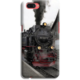 PrintVisa Train Rail Railway Steam Engine Designer Printed Hard Back Case For Oppo A3s - Multicolor