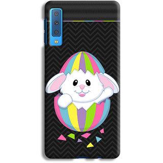 PrintVisa Rabbits Multicolor Multicolour Stripes Khargosh Mobile Cover Designer Printed Hard Back Case For Samsung Galaxy A50 - Multicolor