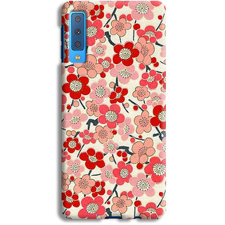 PrintVisa Flowers Theme Floral Love Lovely Gift Designer Printed Hard Back Case For Samsung Galaxy A7 (2018) - Multicolor