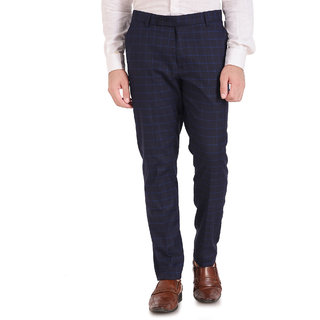 Inspire Luxury Blue Checkered Slim Fit Formal Trouser