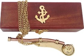 Nautical Brass Boatswain/Bosun pipe whistle chain with wooden box