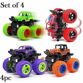 Cos theta Mini Monster Trucks CAR 4WD Friction Powered Cars 4x4 for Kids Big Rubber Tires Baby Boys Super Cars Blaze Tru