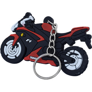 MissMister PVC Vinyl, Red coloured Bike shaped, YAMAHA Bike keyring, Keychain Accessory YAMAHA