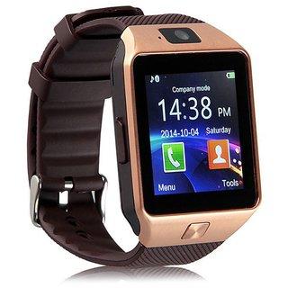 DOITSHOP DZ09 Unisex Bluetooth Golden Smartwatch Compatible with All Mobile Phones