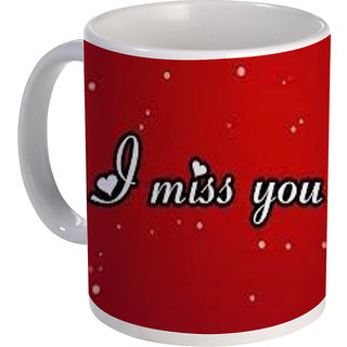 best cute I miss you text design on red background on