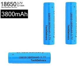 TechDelivers 3Pcs 3.7Volt 3800mAh 18650 Rechargeable Battery 3