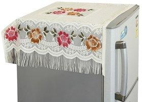 CASA-NEST Floral Decorative Fridge Top Cover - (Off-White Color)
