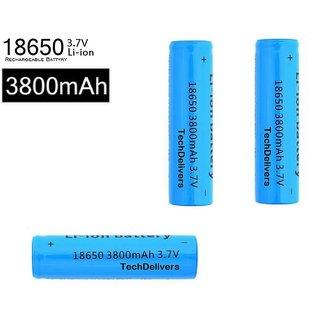 TechDelivers 6Pcs 3.7Volt 3800mAh 18650 Rechargeable Battery