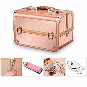 Mini Makeup Train Case with Mirror Portable Cosmetic Organizer Makeup Storage case Makeup Box Travel (Rose Gold)
