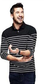 Red Brick Striped Men Polo Neck Black T-Shirt