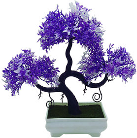 Artificial Plant With Pot - S Shaped Bonsai with Purple and White Leaves by Random