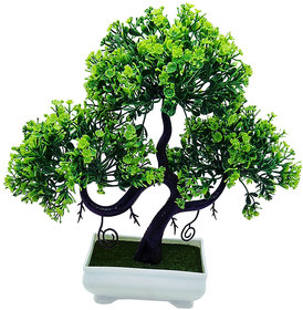 Artificial Plant With Pot - S Shaped Bonsai with Green Leaves and Green Flowers by Random