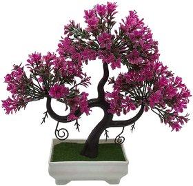 Random S Shaped Artificial Bonsai Tree with Magenta Leaves