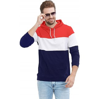 Red Brick Color Block Men  Women Hooded T-Shirt