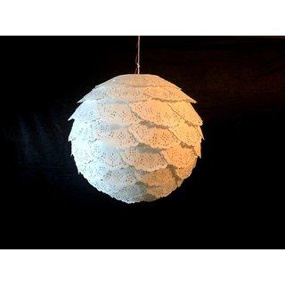 Eco Friendly Elegant Round Diwali Lantern made of lightweight paper WHITE