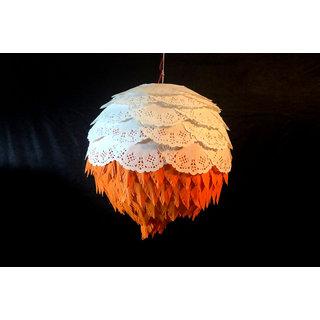Eco Friendly Modern Round Diwali Lantern made of lightweight paper ORANGE
